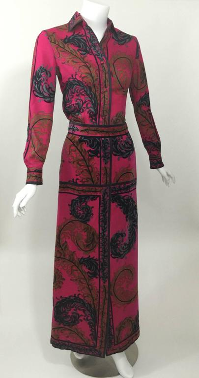 Black Pucci Wool Printed Blouse & Maxi Velvet Skirt Set Rare, 1970s  For Sale