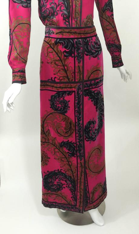 Pucci Wool Printed Blouse & Maxi Velvet Skirt Set Rare, 1970s  In Excellent Condition For Sale In Boca Raton, FL