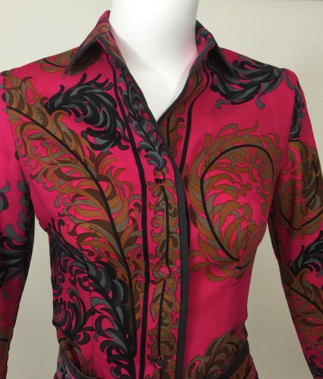 Pucci Wool Printed Blouse & Maxi Velvet Skirt Set Rare, 1970s  For Sale 3