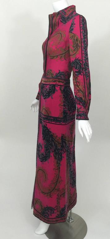 Women's Pucci Wool Printed Blouse & Maxi Velvet Skirt Set Rare, 1970s  For Sale