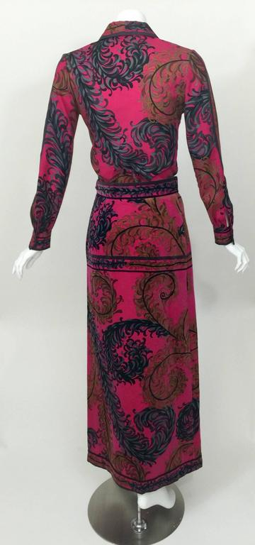 Pucci Wool Printed Blouse & Maxi Velvet Skirt Set Rare, 1970s  For Sale 1