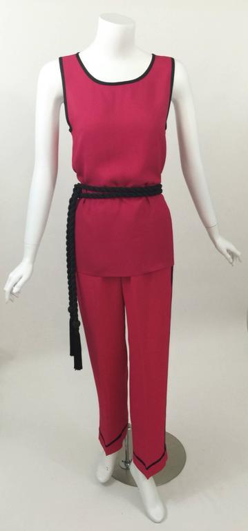 Vintage Saint Laurent 1970s Top, Pants & Tassel Belt Set YSL 3
