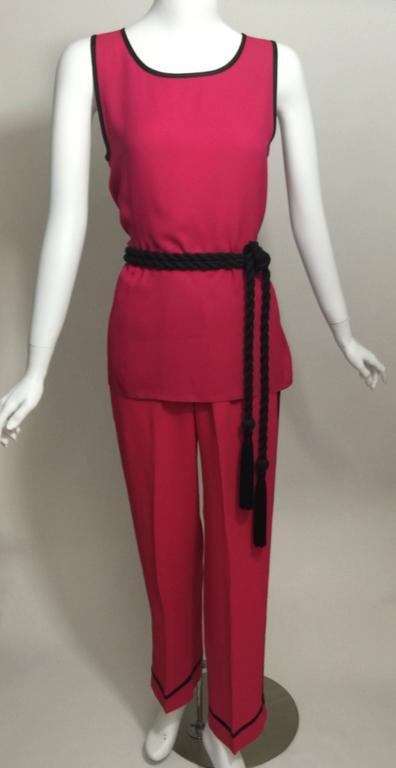 Vintage Saint Laurent 1970s Top Pants And Tassel Belt Set