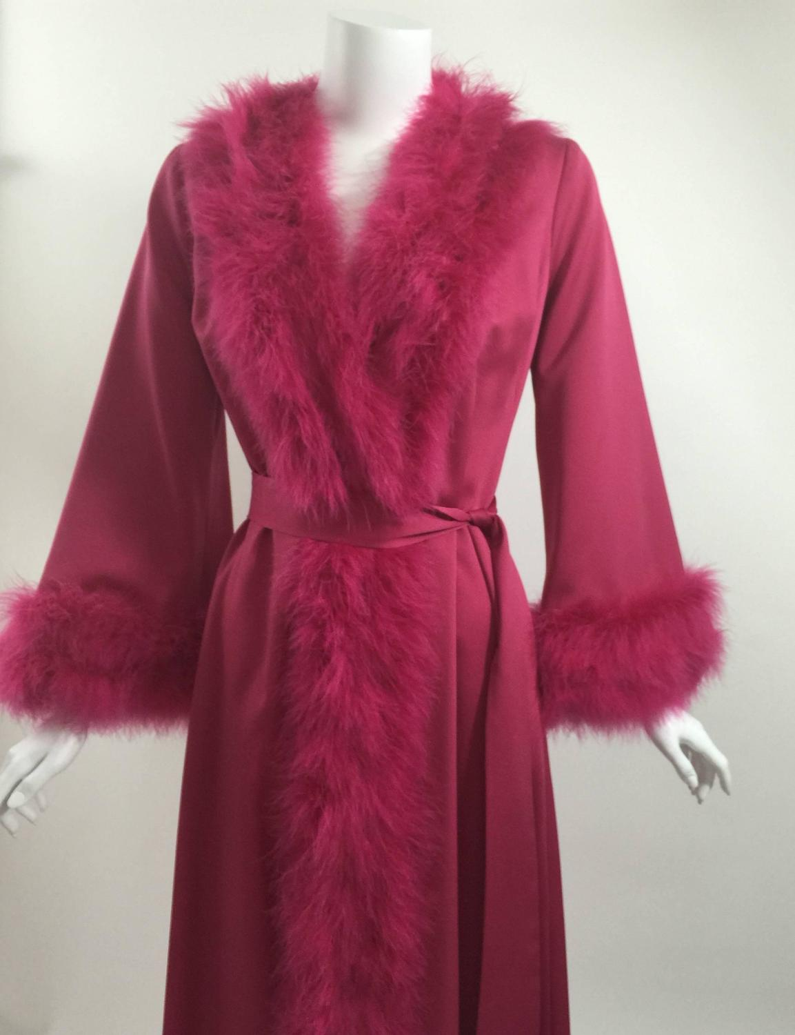 A Magnificent Magenta Marabou Feather Trimmed Caftan And Robe
