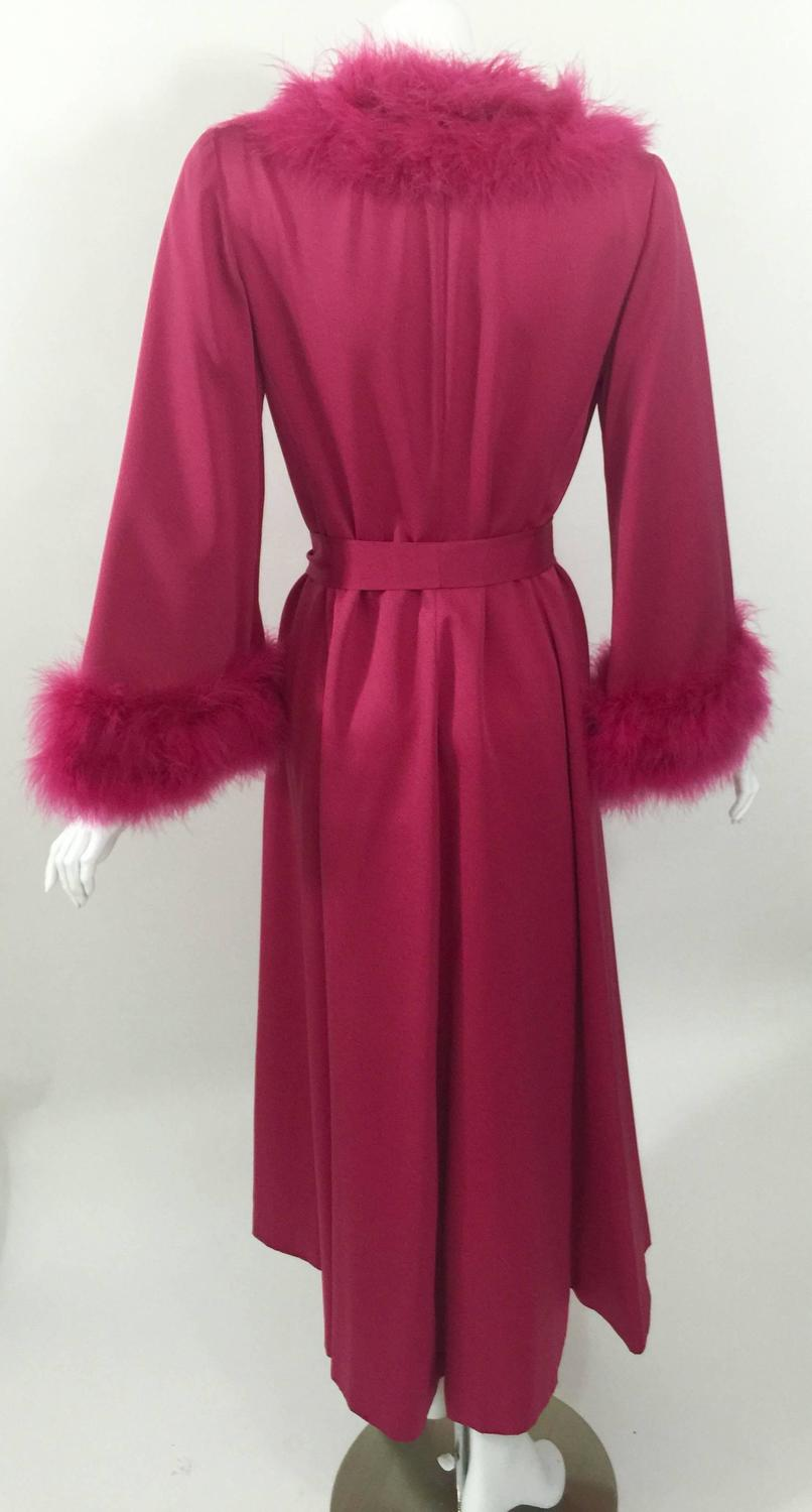 A Magnificent Magenta Marabou Feather Trimmed Caftan And