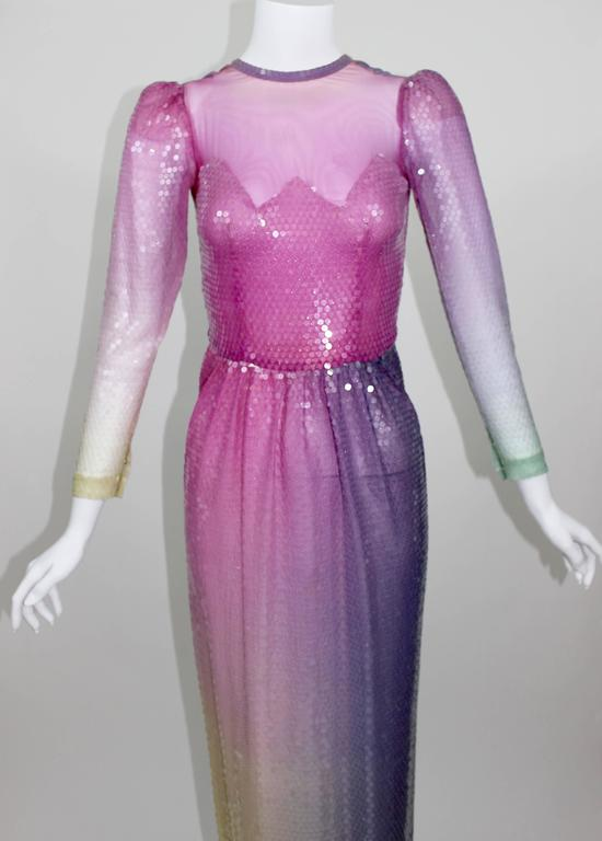Gray Vintage Loris Azzaro Custom Couture Ombre Sequin Gown  For Sale