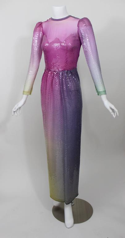 Women's Vintage Loris Azzaro Custom Couture Ombre Sequin Gown  For Sale
