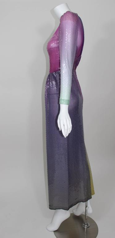 Vintage Loris Azzaro Custom Couture Ombre Sequin Gown  For Sale 2