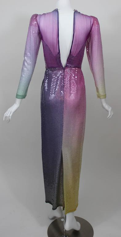 Vintage Loris Azzaro Custom Couture Ombre Sequin Gown  For Sale 1