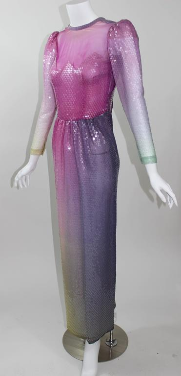 Vintage Loris Azzaro Custom Couture Ombre Sequin Gown  For Sale 3