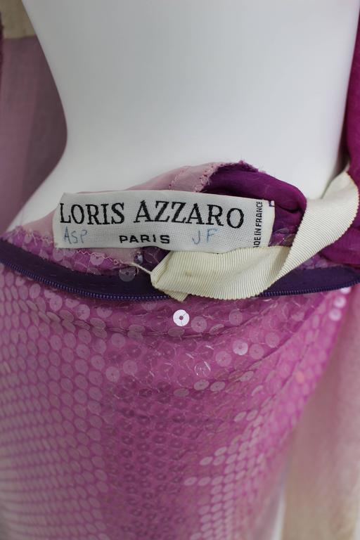 Vintage Loris Azzaro Custom Couture Ombre Sequin Gown  For Sale 5