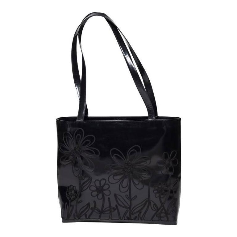1stdibs Moschino Embroidered Patent Leather Tote Bag 18FT48E