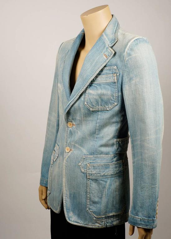 Tom Ford for Gucci Distressed Tailored Denim Jacket 3
