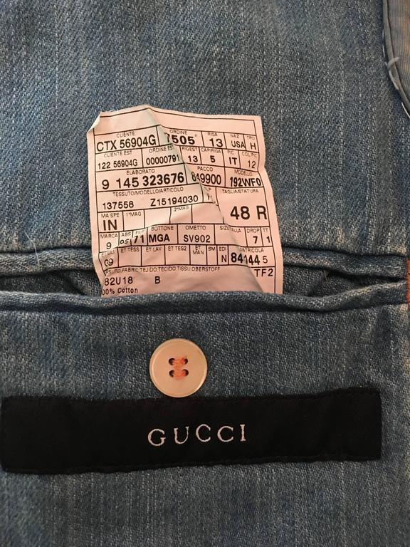 Tom Ford for Gucci Distressed Tailored Denim Jacket 10