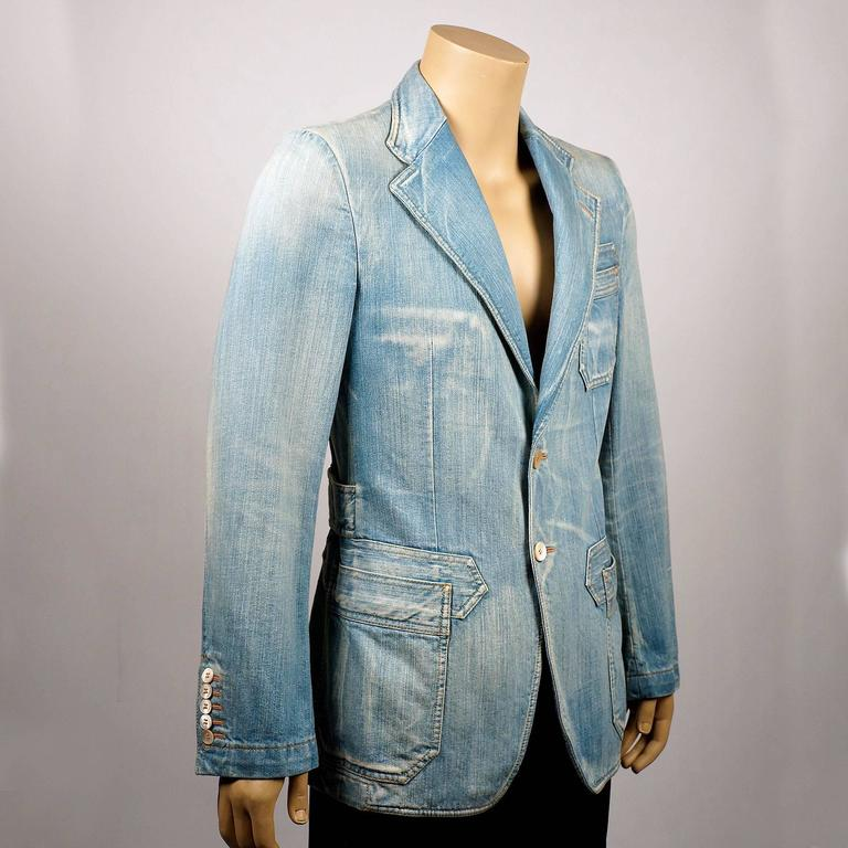 Tom Ford for Gucci Distressed Tailored Denim Jacket 2