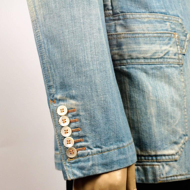 Tom Ford for Gucci Distressed Tailored Denim Jacket 7