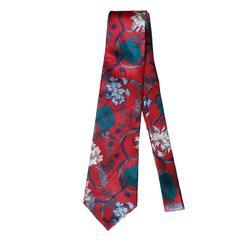 Vintage Halston Red Floral Pattern Tie