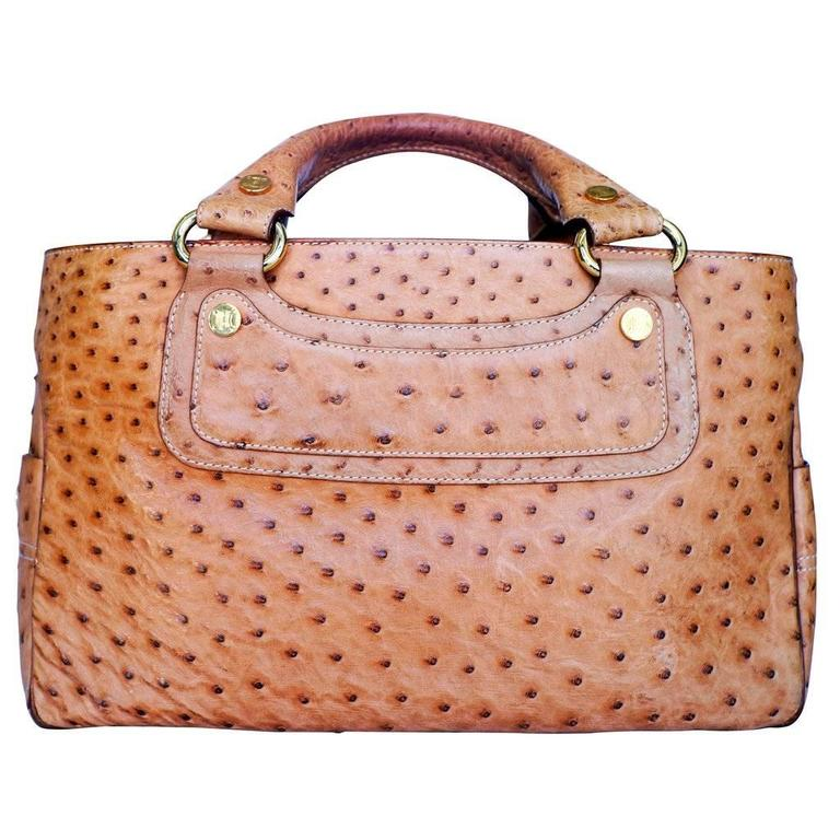 Celine Ostrich Leather Handle Bag 5
