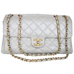 Chanel Cream Classic Jumbo Flap Lambskin Bag