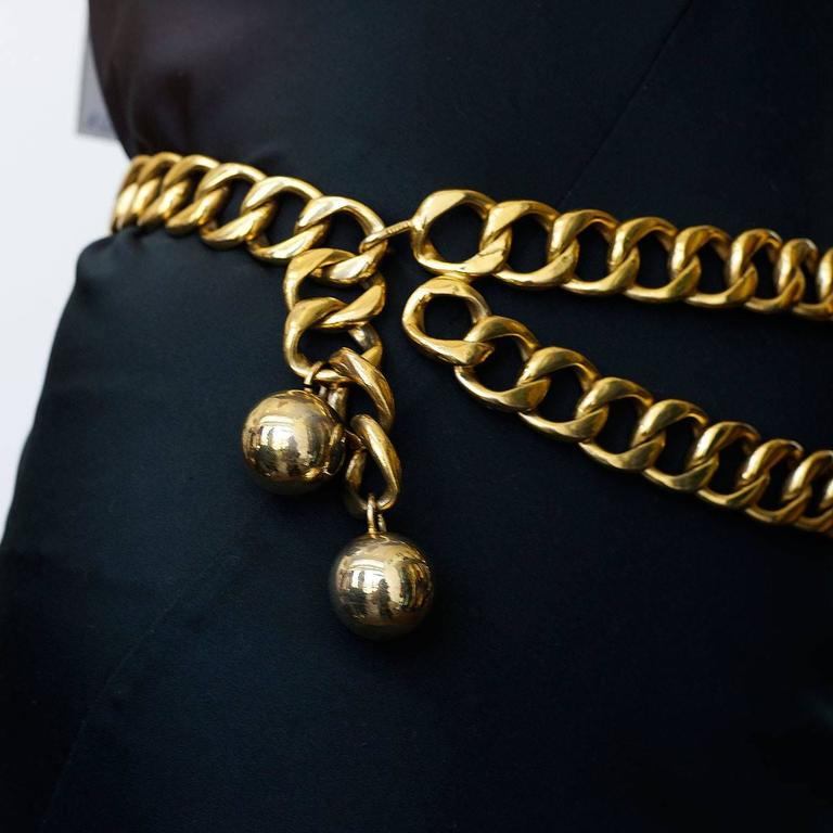 Gold Classic Chanel Double Chain Belt For Sale