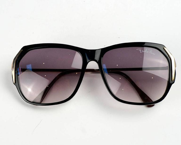 Emilio Pucci Black and Gold Sunglasses For Sale 1