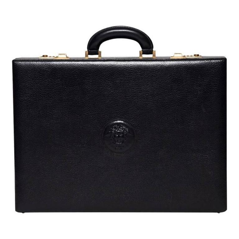 Versace Black Leather Briefcase with Medusa Head