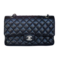 Chanel Black Leather Double Flap Hand Bag