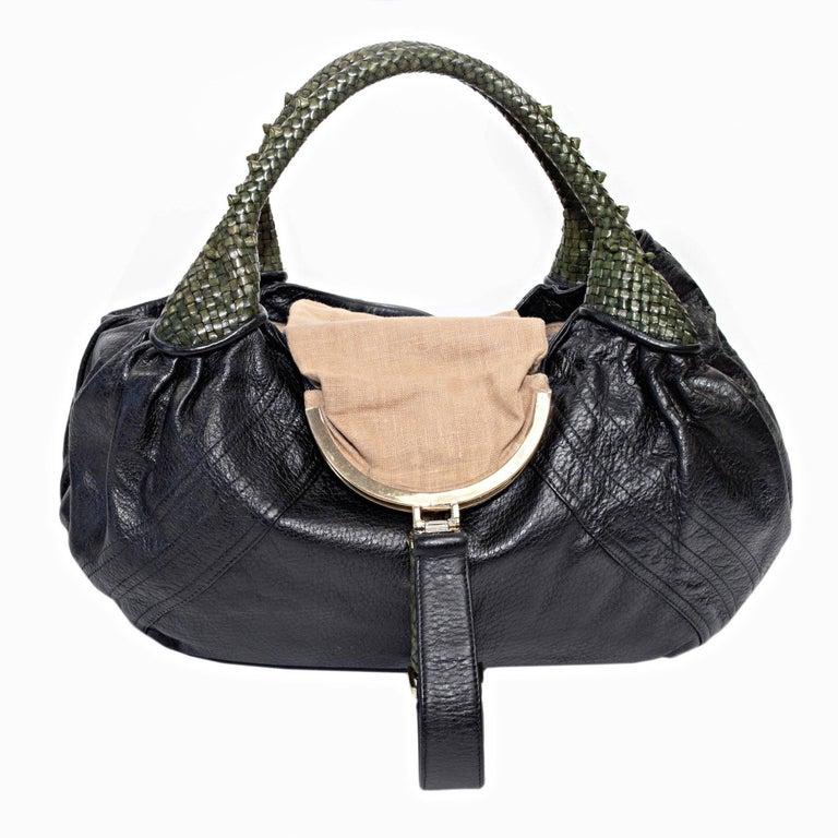 Women's or Men's Fendi Black Nappa Leather Spy Bag For Sale