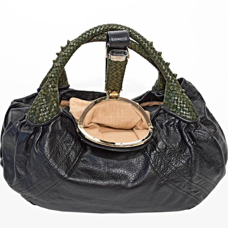 Fendi Black Nappa Leather Spy Bag For Sale 1