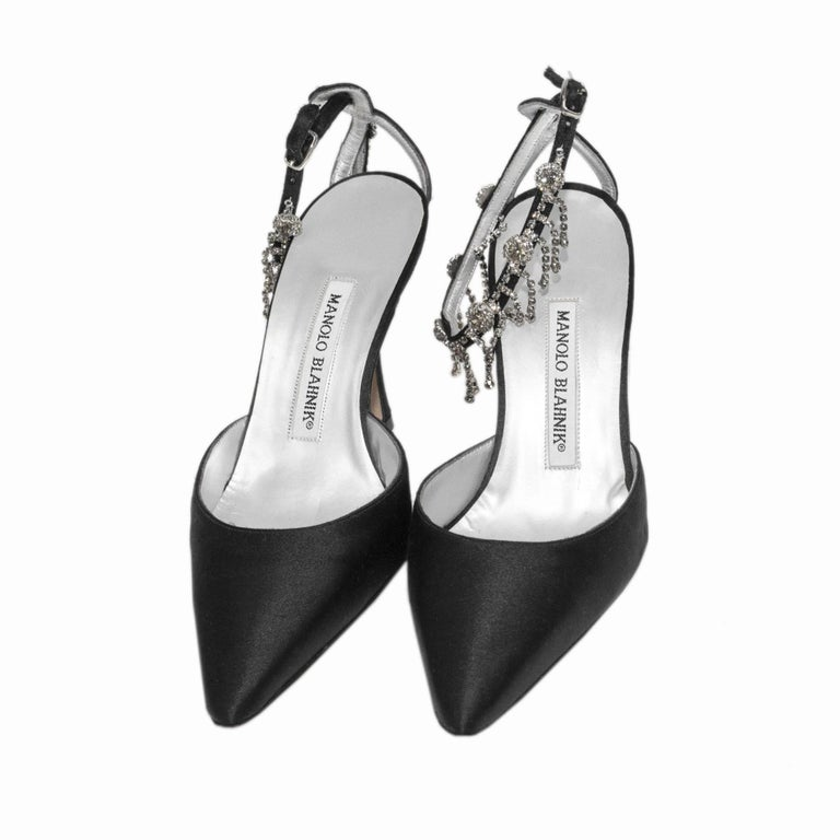 Manolo Blahnik Black Satin Pointy Toe Heel With Rhinestone Ankle Strap In Good Condition For Sale In Los Angeles, CA