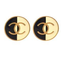 Chanel Two Tone Monogram Clip On Earrings