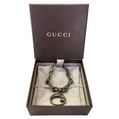 "Gucci Sterling Silver Rope Chain Bracelet with ""G"" Horse Charm"