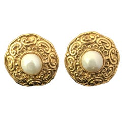 Chanel Gold Tone and Artificial Pearl Clip On Earrings