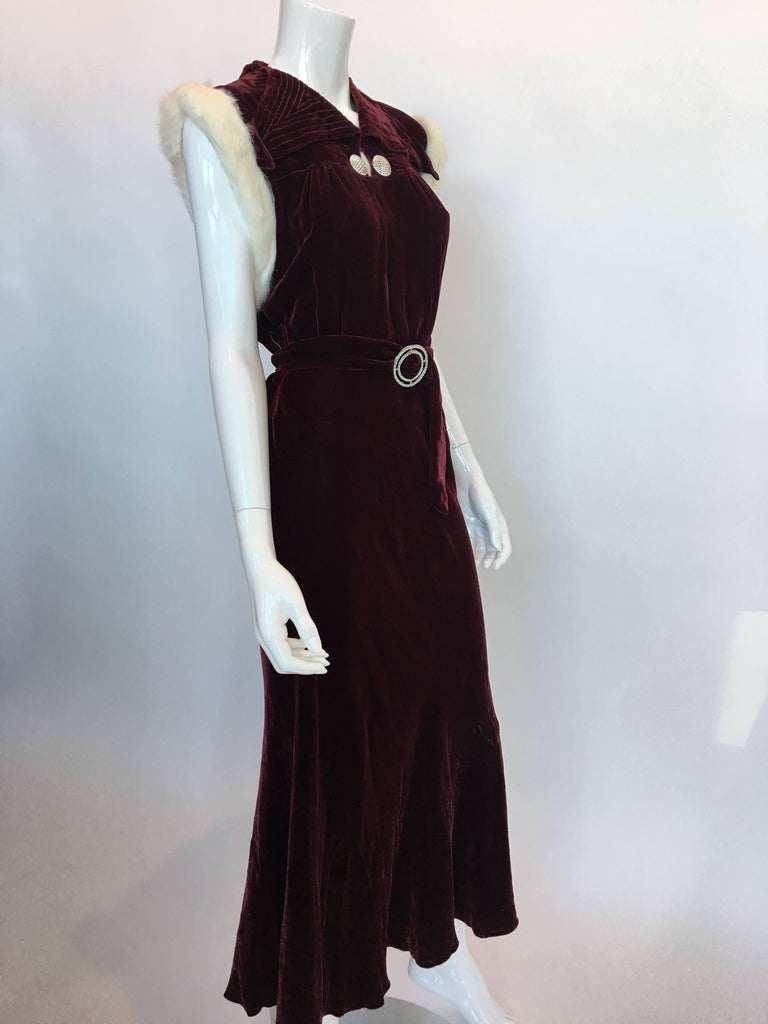 Black 1930's Burgundy Velvet Dress with Rabbit Fur Trimmed Sleeves For Sale