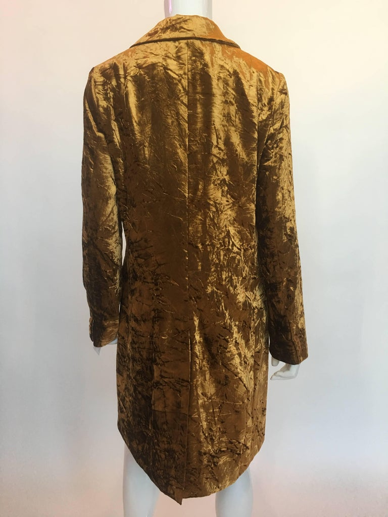 "Euro Gold Crushed Velvet Jacket  Made in Italy Size Label 46  Measurements taken flat: Shoulders - seam to seam: 16"" Sleeve - shoulder to wrist cuff: 25.5"" Armpit to armpit: 18.5"" Bust: 20"" Waist: 20"" Length - Front"