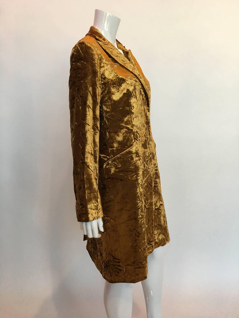 Brown ETRO Contemporary Gold Crushed Velvet Jacket For Sale