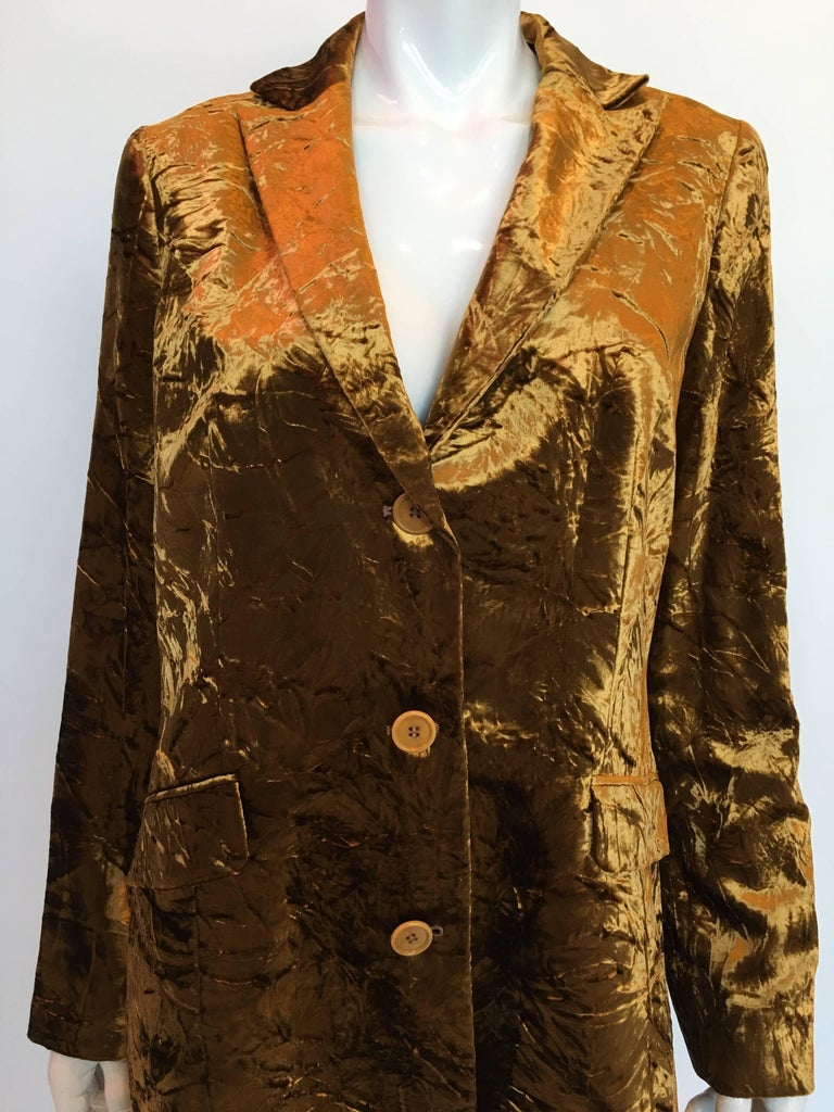 Women's or Men's ETRO Contemporary Gold Crushed Velvet Jacket For Sale