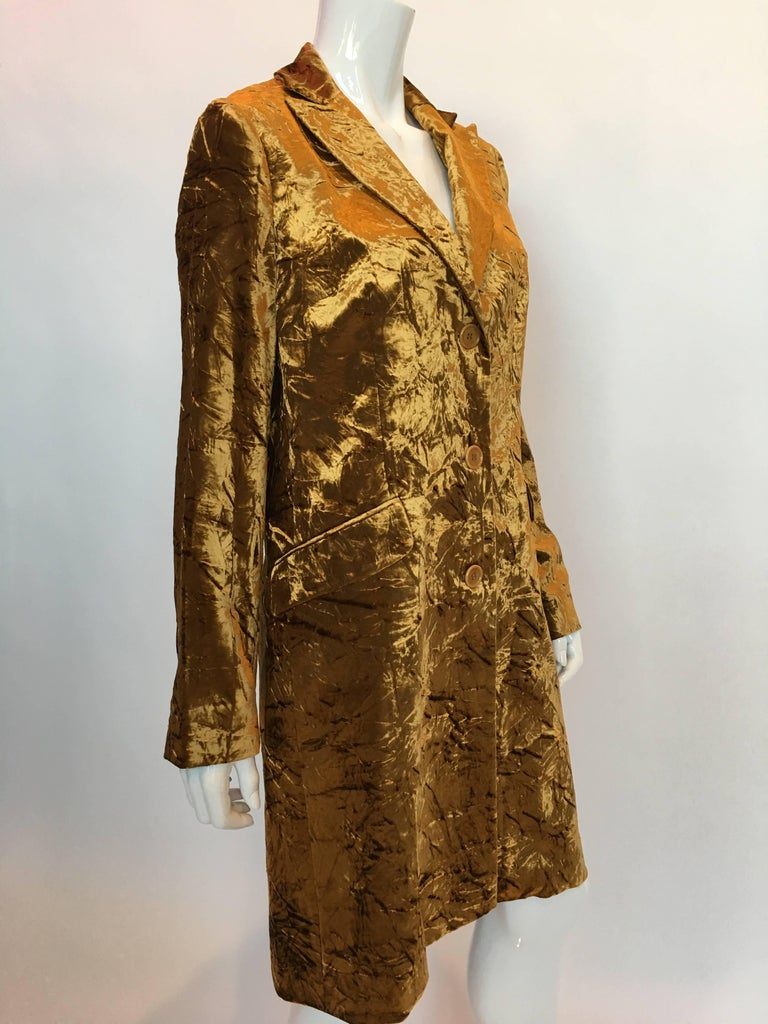 ETRO Contemporary Gold Crushed Velvet Jacket For Sale 2