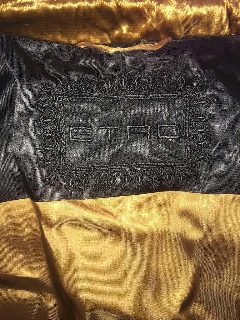 ETRO Contemporary Gold Crushed Velvet Jacket For Sale 3