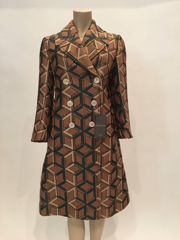 aa1c2103a62 Gucci Geometric Copper   Tan Double Breasted Wool Coat Made in France Size  Label   42