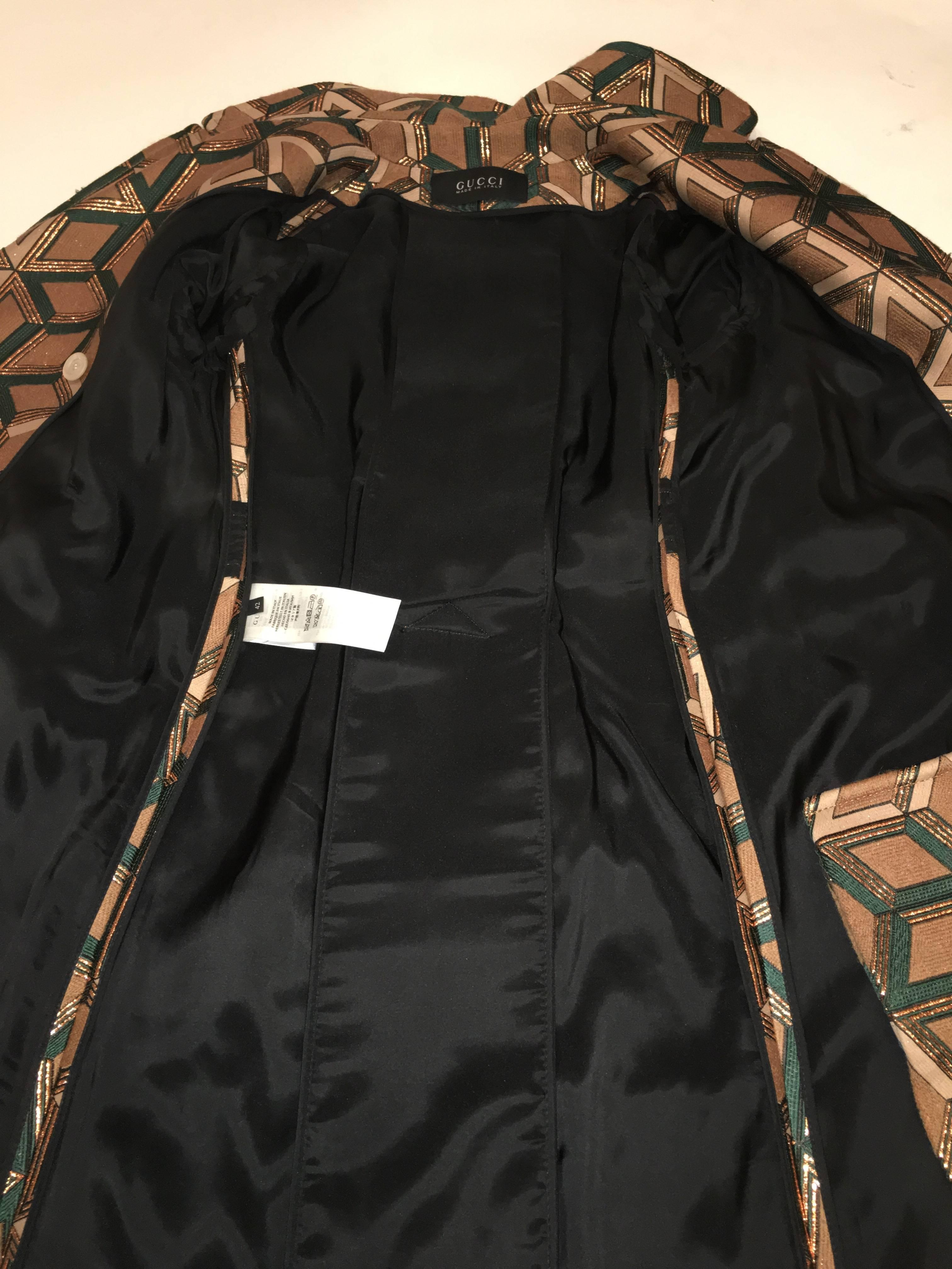 db09563713c Gucci Geometric Copper and Tan Double Breasted Wool Coat For Sale at 1stdibs