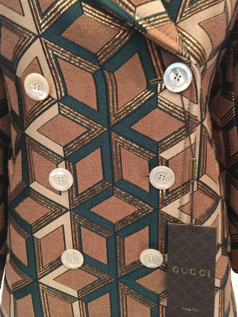 6d137483ef1 Gucci Geometric Copper and Tan Double Breasted Wool Coat For Sale at ...