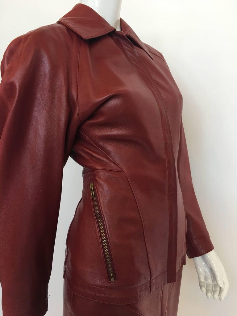 Brown Alaïa 1980's Red Leather Skirt Suit For Sale