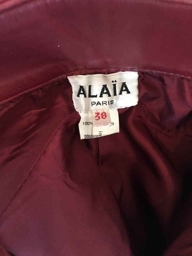 Alaïa 1980's Red Leather Skirt Suit For Sale 4