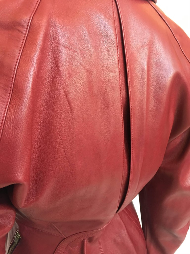 Alaïa 1980's Red Leather Skirt Suit For Sale 1