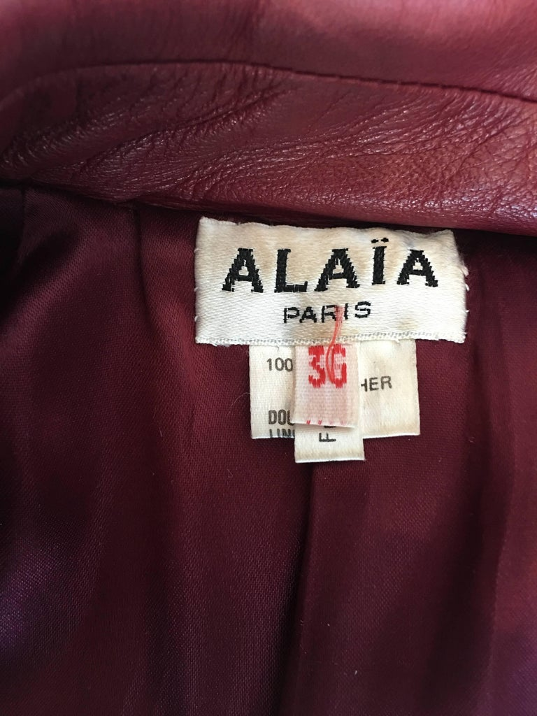 Alaïa 1980's Red Leather Skirt Suit For Sale 3