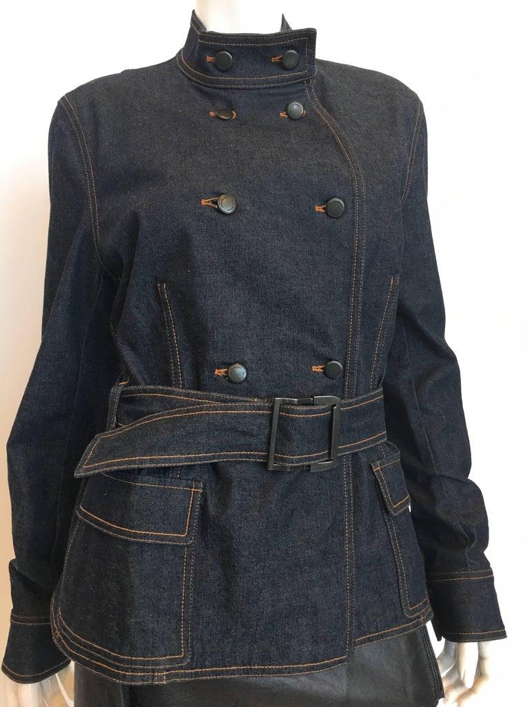 Black Yves Saint Laurent Denim Jacket, 1990s   For Sale