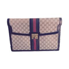 Gucci Canvas and Leather Briefcase