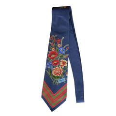 Gucci Blue Floral Vintage Tie with Horizontal stripe