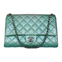 Chanel Platinum Patent Leather Green Classic Flap Bag